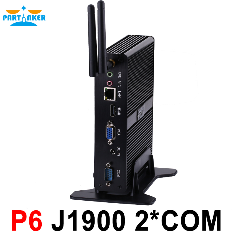 Partaker Fanless Mini PC Quad Core J1900 With 2 COM Ports 3 Years Warranty Free Shipping