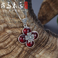 925 Sterling Silver red flowers Pendant retro Natural semi-precious stones Necklace women Jewelry garnet clover girlfriend gift