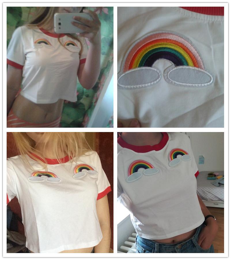 HTB1ktopRFXXXXXfXpXXq6xXFXXXG - Rainbow Patch Embroidered Crop Tees Summer PTC 128
