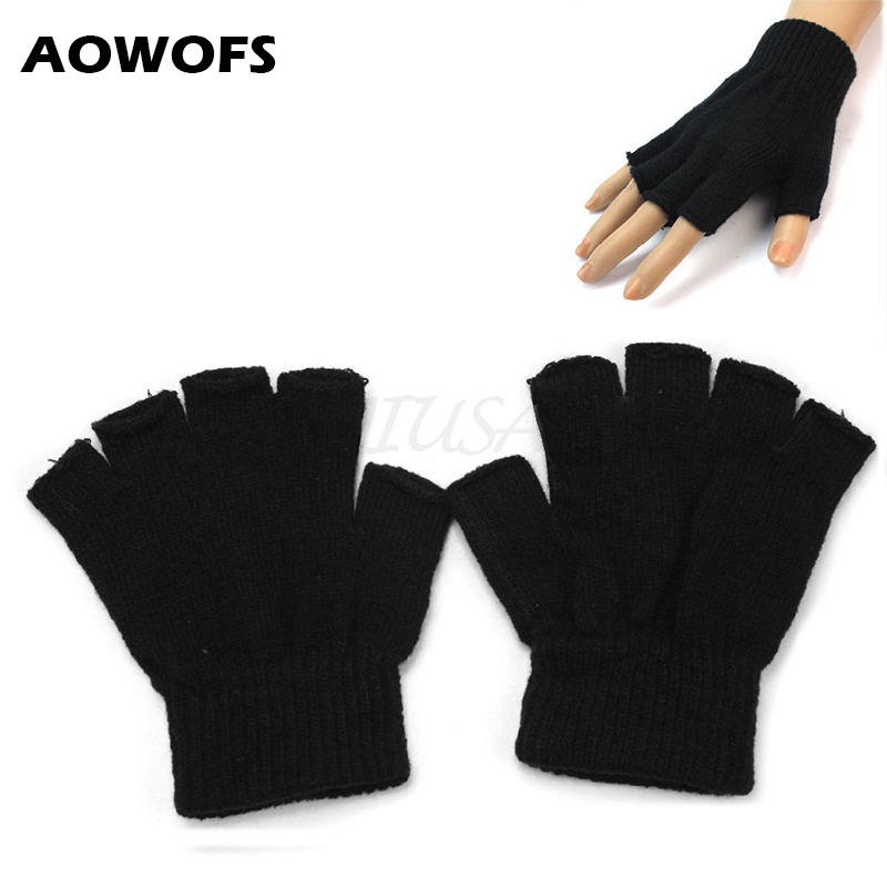 Winter Gloves Mitten Hand-Warmer Women Ladies Casual Crochet Without Solid Cotton Balck