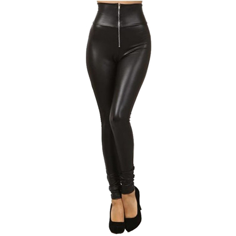 Women Pu Leather Leggings Autumn Fashion Black High Waist Zipper Leggings Women Casual Skinny Faux Leather Leggings Female