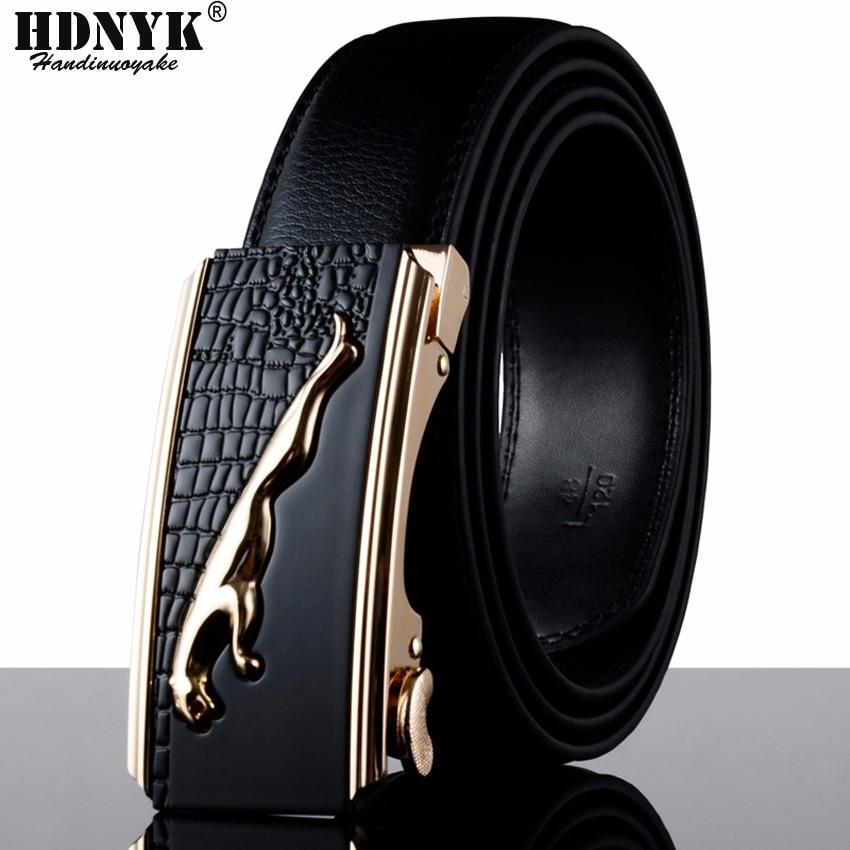 Hot New Men Belts Originální kožená automatická přezka značky Designer Belt for Men Doprava zdarma