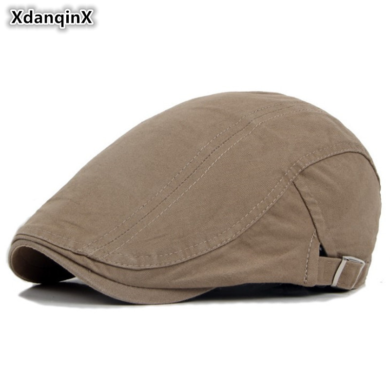 XdanqinX adulto hombres Retro 100% algodón boinas hombre hueso sólido  Simple moda ajustable tamaño tapas 2b015d2a550
