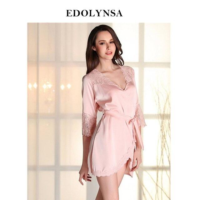 c2f325fdcb 2019 Bathrobe Women Bridesmaid Robes Soft Sexy Short Kimono Robe Home Dressing  Gown Half Sleeve Pink Silk Wedding Robes  P112