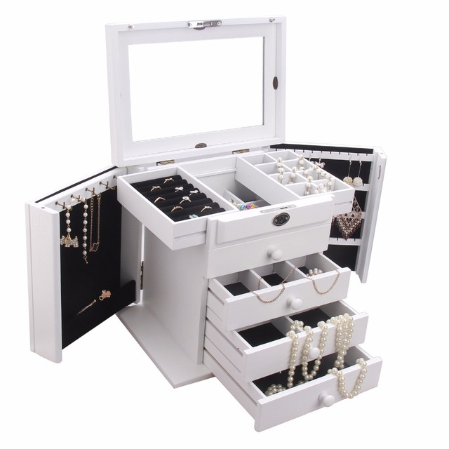 Rowling White Large Wooden Storage Bo With Locks Key Jewellery Rings Earring Bracelets Organizer 5 Layers
