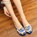 Veowalk Handmade Summer Cotton Fabric Shoes Women Old Peking Slippers Chinese Blue And White Embroidery Slipprs Plus Size 34-41