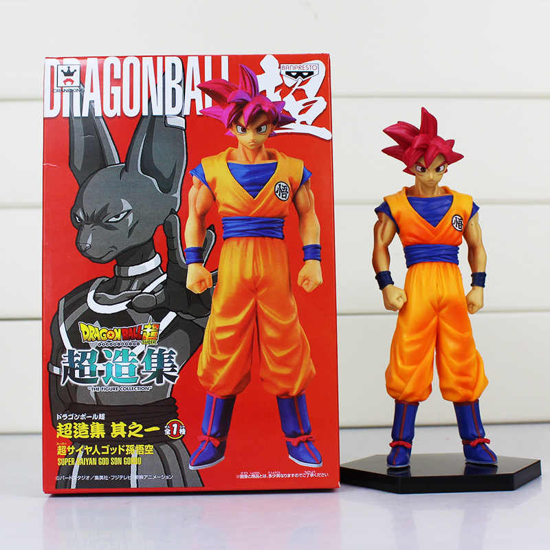 1Pce Anime Figuras de Dragon Ball Son Goku Super Saiyan Deus Son Goku PVC Action Figure Brinquedos Modelo Collectible Dolls 16 cm