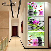 RUBOS DIY 5D Diamond Embroidery Flowers Bamboo Orchid Triptych Diamond Painting Cross Wall Modular Picture 3D