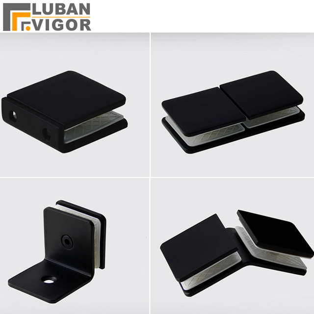 Black Glass Clip/clamp, Partition Code Shower Parts,Glass  Connection,Stainless Steel