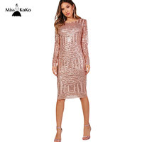 Misskoko Women Sequins Dress Bodycon Sexy Vestidos Female Long Sleeve Fitness Dresses Hollow Out Backless Clothing 2018 New