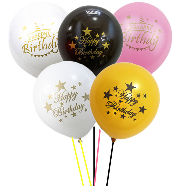 100pcs Black White Happy Birthday Balloons With Stars And Golden Writing 10inch Latex For Birthtday Party Decorations