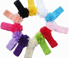 Promotion 10pcs/lot lace Chiffon hollow out Flower Crochet Headband Baby Girls dress up Head band Chirstmas gift 13color