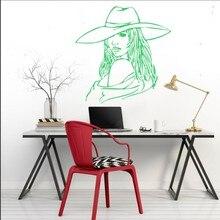 Salon Girls Portrait Wall Decals Woman Silhouette With Hat Vinyl Sticker Home Livingroom Decorative Poster Mural Q-37