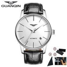 GUANQIN Men Watches Automatic Mechanical Man Thin Water Resistant Watches Japan Movement Watch with Genuine Leather Strap все цены
