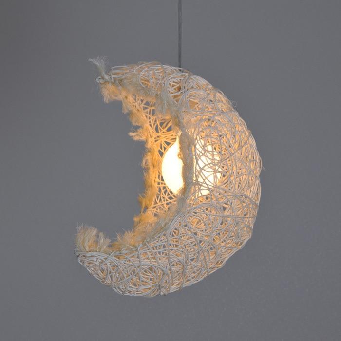 Country Rustic Beige Crescent Moon Hallway Pendant Lamp Bedroom Corridor Balcony Pendant Suspension Lighting сумка для мамы esspero moon beige