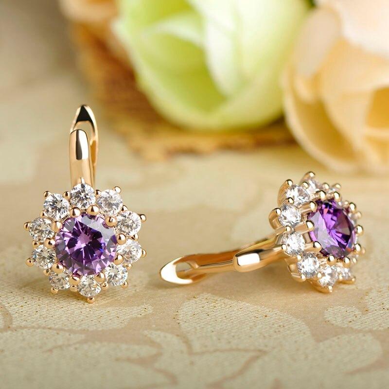 Delicate Copper Rhinestone Cubic Zirconia Earring Studs England Hook Flower Small Aretes Women Fine Ear Jewelry Silver Brinco Uk