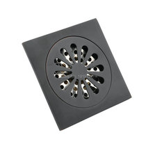 Matte Black Solid Brass Drain Bathroom Accessory 4 Inches Square Style Cleaner Shower Ground Grate Drainer Pump High Quality