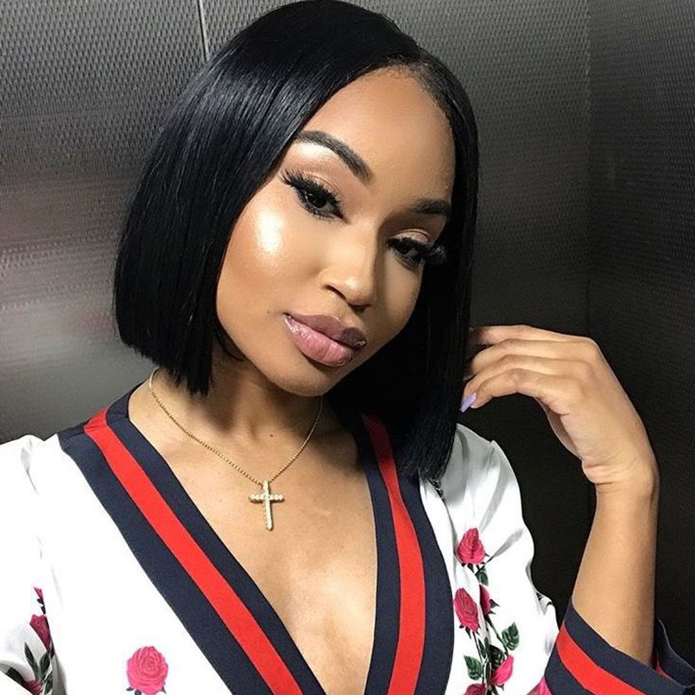 Short Lace Front Human Hair Wigs For Black Women Brazilian Straight Hair Bob Wig With Baby