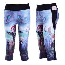 Women Slim Hip Mid Calf Leggings Sexy Cartoon Design Digital Print Fitness Yoga Trousers High Elastic