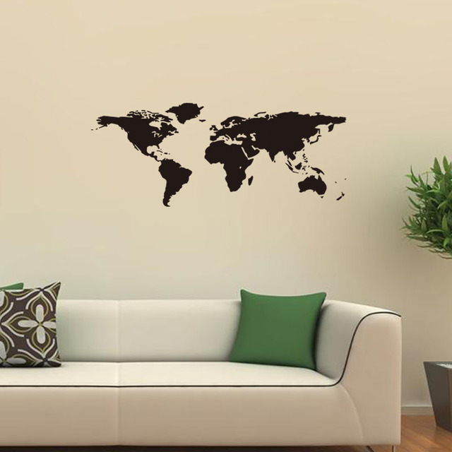 Large world map wall stickers original creative letters map wall art large world map wall stickers original creative letters map wall art bedroom home decorations wall decals gumiabroncs Gallery
