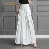 VOA Шелковые Широкие брюки со складками длинная куртка с секциями Свободные Твердые Офисные женские туфли Основной раздел Британский стиль