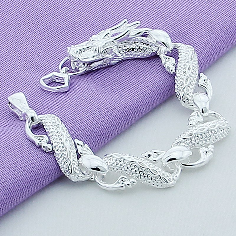 New 2019 Trendy 925 Sterling Silver White Chinese Dragon Chain Bracelets For Men Fashion Jewelry Pulseira Male image