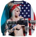 Alisister New Fashion American Flag Hoodies Crewneck women/men 3d Sweatshirt Harajuku Hoodie Funny Gun Clothes