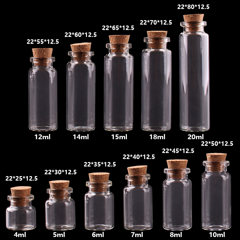 4/5/6/7/8ml...Tiny Glass Bottles With Cork Empty Glass Bottles Glass Jars Vial For Home Decoration Artware Craftwork 100pcs