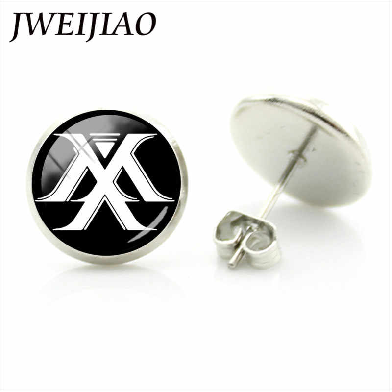 JWEIJIAO Korea Trendy Monsta X Band Logo Earrings Shownu MONSTA X Album NEWTON Photo Stud Earring For Fans Ear Jewelry Gift MN02