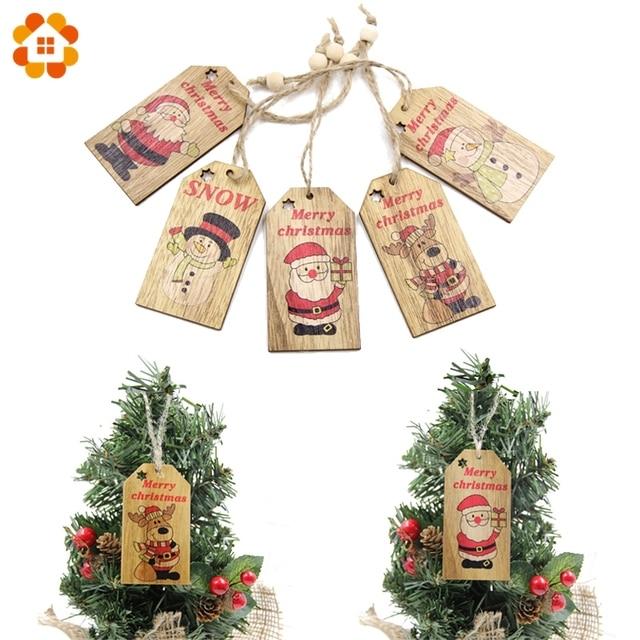 5pcs Cute Printed Christmas Pendant Ornaments Diy Wood Crafts Home