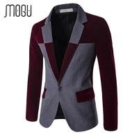 MOGU 2017 Blazers For Men Wool Blends Contrast Color Men Blazer Slim Fit Big Size Casual