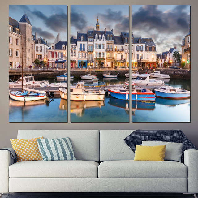 Unframed Boat Pictures Vintage Home Decor Paintings On Canvas 3 ...