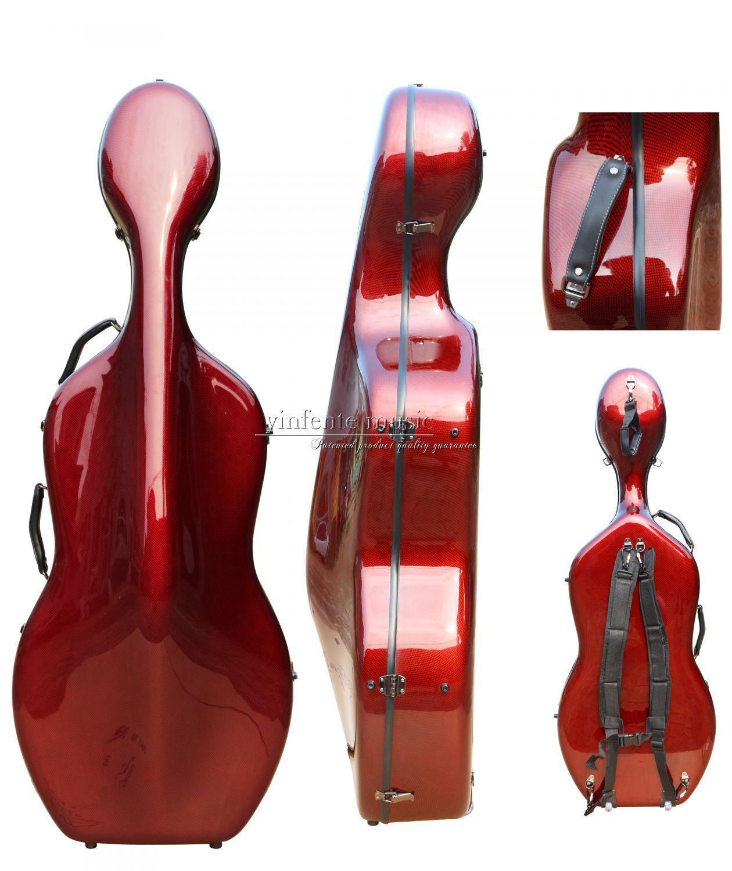 Funda de Violonchelo de fibra de carbono 4/4 funda dura caja Color rojo fuerte luz 3,6 kg piezas de Violonchelo