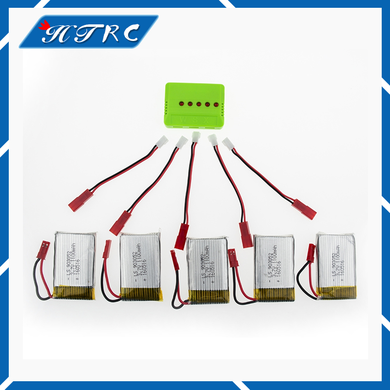 JJRC H11C H11D  Lipo Battery 3.7 V 1100 mAh lipo Battery 5pcs and charger for JJRC RC Quadcopter Drone Spare Parts 5pcs jjrc h11d h11c hq898 quadcopter drone rc lipo battery 3 7v 1100mah and charger plug cable