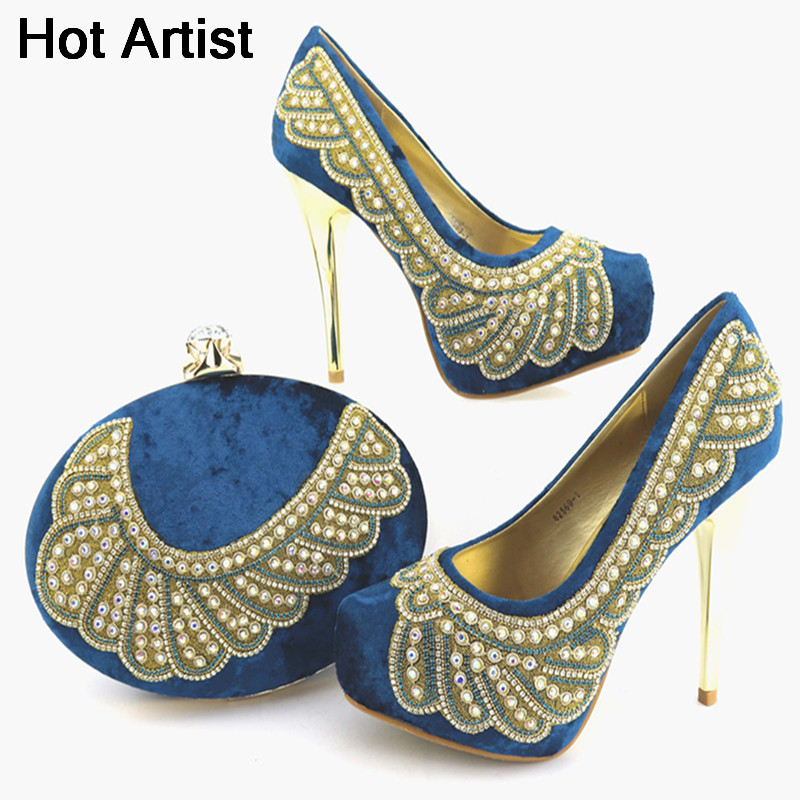 Hot Artist New Arrival Italian Style Rhinestone Woman Shoes And Bag Set African High Heels Shoes And Bag Purse For Party Dress