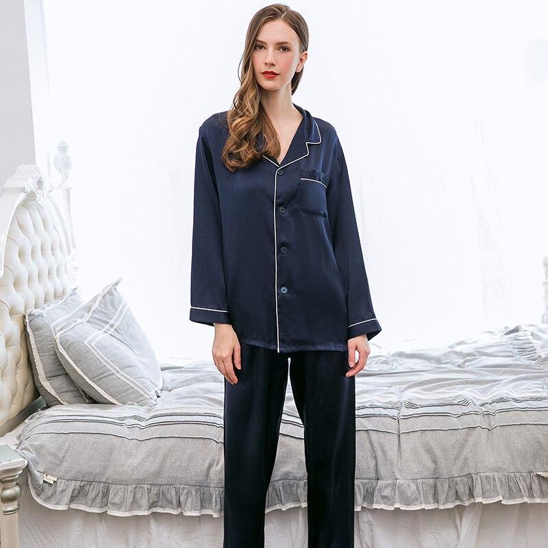 100% Real Silk Pajamas Set For Women Solid Long Sleeves Shirt+Pants Pijamas Women's Sleepwear Nightwear Nightie Pyjamas Gift
