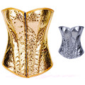 NEW HOT Ouro Prata Espartilho Lingerie Mulheres Sexy Vintage Bustier Waspie SM L XL XXL N53 QC