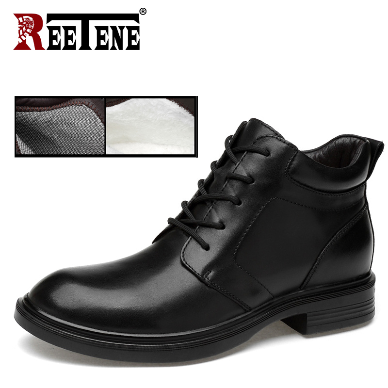 REETENE Fashion Comfortable Men Martin Boots New Autumn Winter Boots Men Leather Lace Up Full Grain Leather Winter Shoes Men men spring autumn full grain leather ankle boots lace up fashion casual real leather men boots 20170107