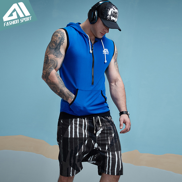 Aimpact GYM Workout Tank Top Sport Fitted Sleeveless Hoodies Mens Tapered Zip Athletic Hoody Activewear Crossfit Workout Tees 3