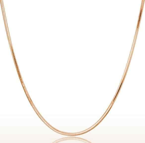 Omhxzj卸売ファッション女性18インチ1.5ミリメートルプラチナ925スターリングシルバーローズゴールドラウンド蛇骨短鎖ネックレスnk11