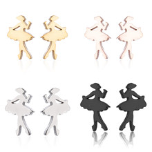 Jisensp Cute Women Stud Earrings Stainless Steel Fashion Jewelry Ballet Girl Earrings for Girls Brincos Dancer Jewelry Gifts(China)