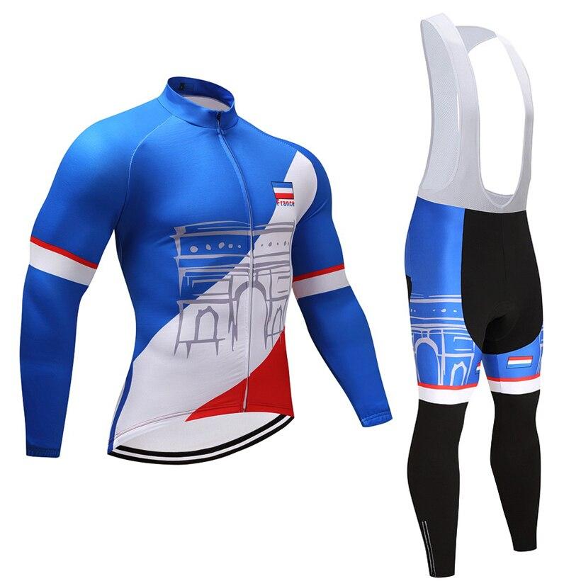 2018 Winter FRANKREICH TEAM radfahren jersey 9D gel pad bike hosen set HERREN MTB Ropa Ciclismo Thermische Fleece radfahren Maillot tragen