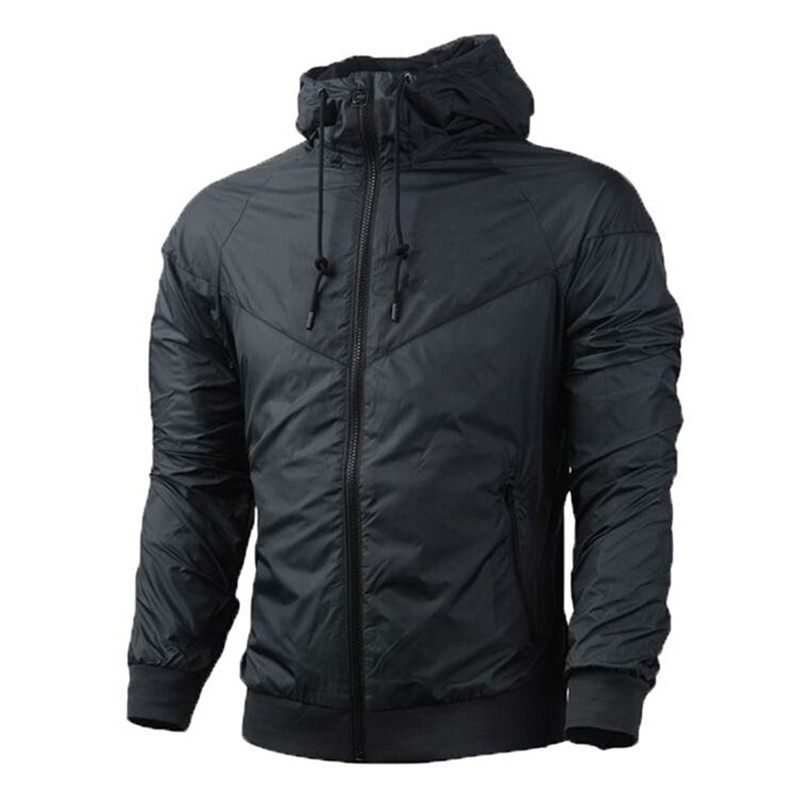 Jacket Hoodie Spring Running-Windbreaker Long-Sleeve Black Autumn Men White New Zipper
