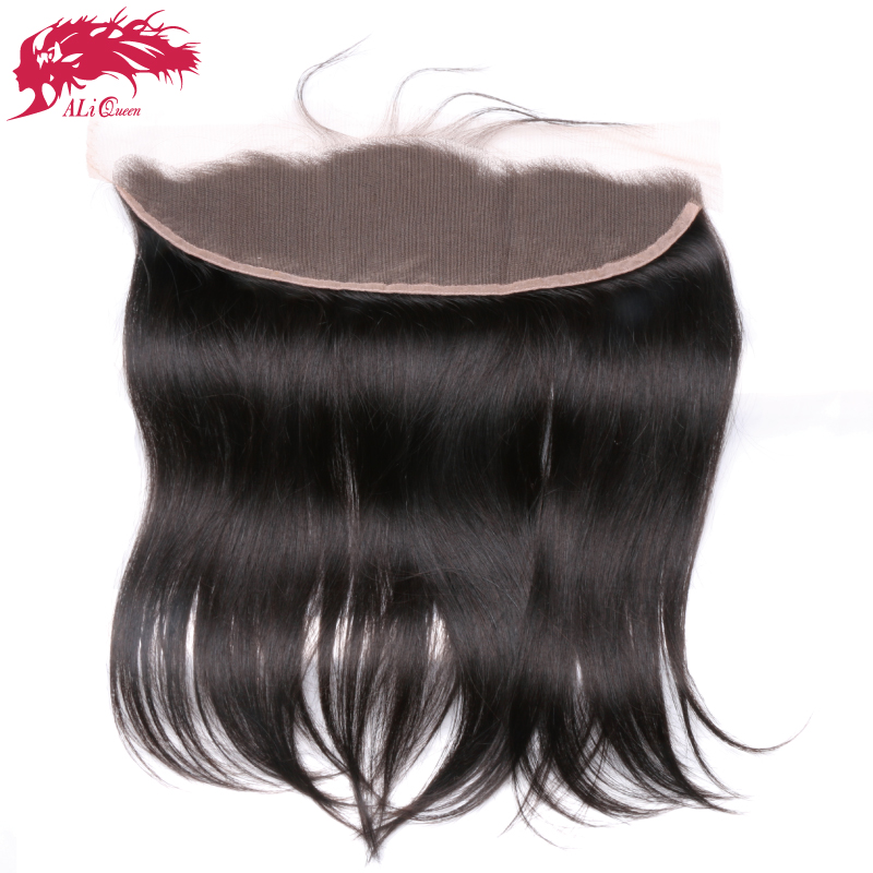 Ali Queen Hair Ear to Ear Lace Frontal Closure 13X4 with Baby Hair Pre Plucked Brazilian Straight Remy Hair Free Part