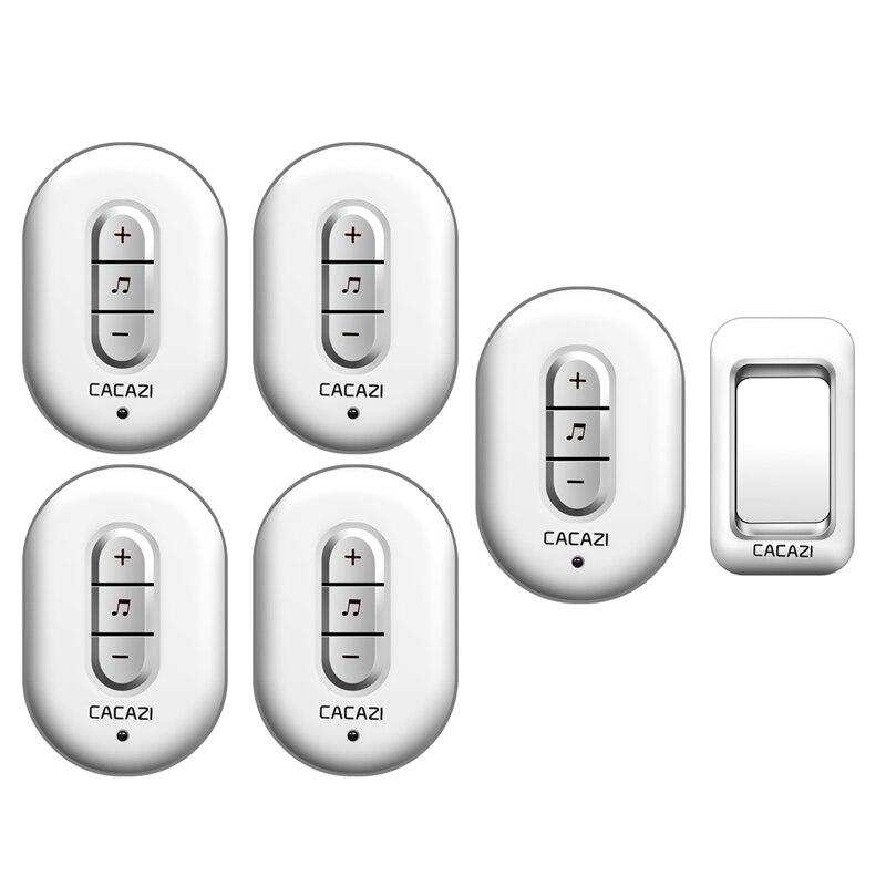 CACAZI Wireless Doorbell AC 110-220V 280M remote waterproof door bell 1 transmitter+5 receivers 48 rings 6 volume door chime cacazi a9 3 ac 75 250v wireless doorbell 1 waterproof button 3 receivers 52 ringtones 4 volume 300m remote electronic doorbell