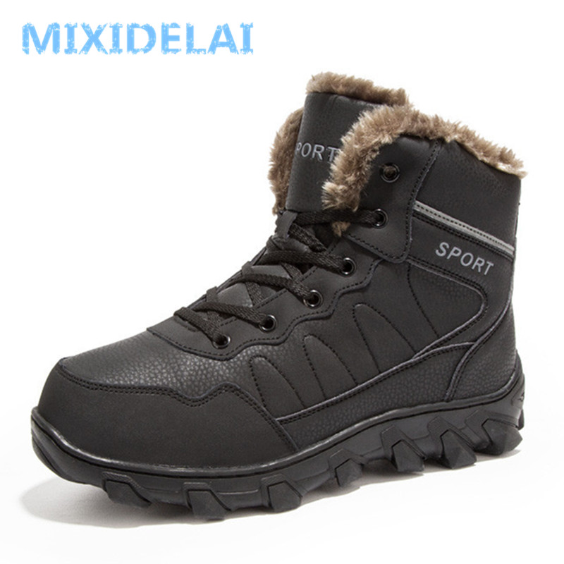 MIXIDELAI 2018 New Men Boots Winter Outdoor Sneakers Mens Snow Boots keep Warm Plush Boots Plush Ankle Snow Work Casual Shoes floral pattern wide brim oversized summer hat