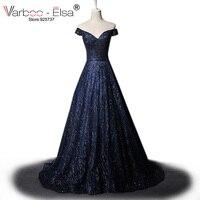 VARBOO_ELSA Azul Sparkly Vestidos Homecoming 2017 Árabe Custom Made Vestido de Festa Glitter Longo Prom Dress Mulheres vestido Formal do baile de Finalistas do Vestido