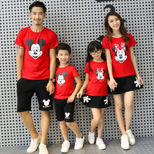 Leisure Family Short Sleeve+shorts Clothing Set Cartoon Mickey Dress Matching Outfits Children Baby Kids Girl Boy Clothes
