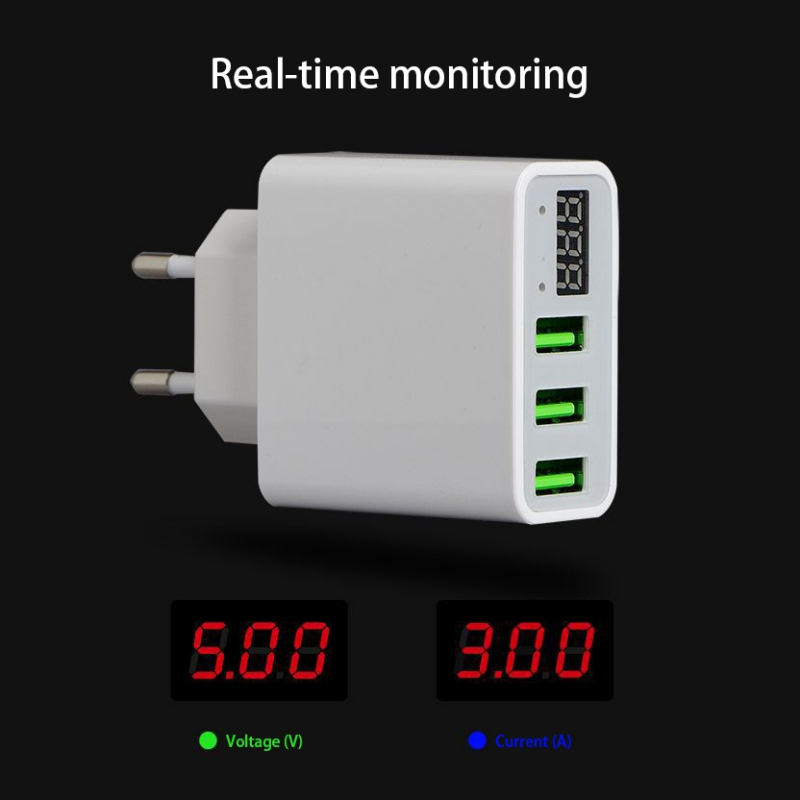 EU/US Plug Smart Fast Charging 3 Port USB Phone Charger LED Display Travel Mobile Wall Charger for iPhone iPad Samsung laptop