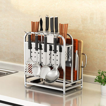 Stainless Steel Kitchen Shelf Cutting Board Knife Utensils Storage Rack Multi-function
